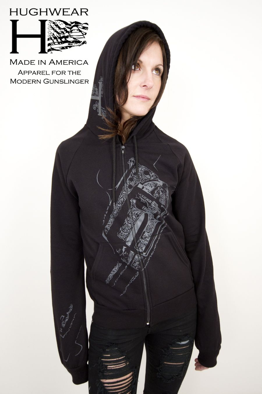 Embossed Women's Long-Sleeve Hooded Shirt #hughwear #badass #americanmade #gunz #USA #black www.hughwear.com