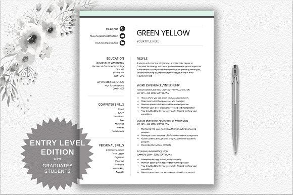 Resume Template Entry Level @creativework247 Resume Templates
