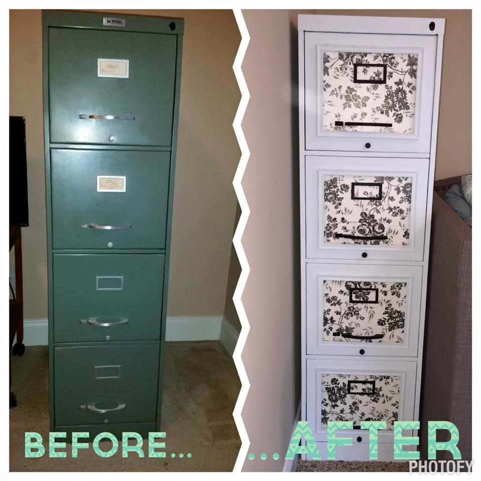 Redo a ugly filing cabinet with a little paint, dollar store ...