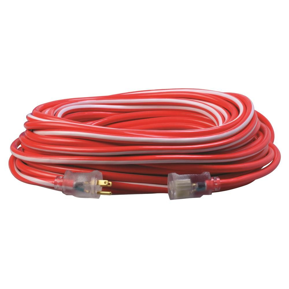 Southwire 100 Ft 12 3 Sjtw Hi Visbility Multi Color Outdoor Heavy Duty Extension Cord With Power Light Plug Red White Extension Cord Extensions Color