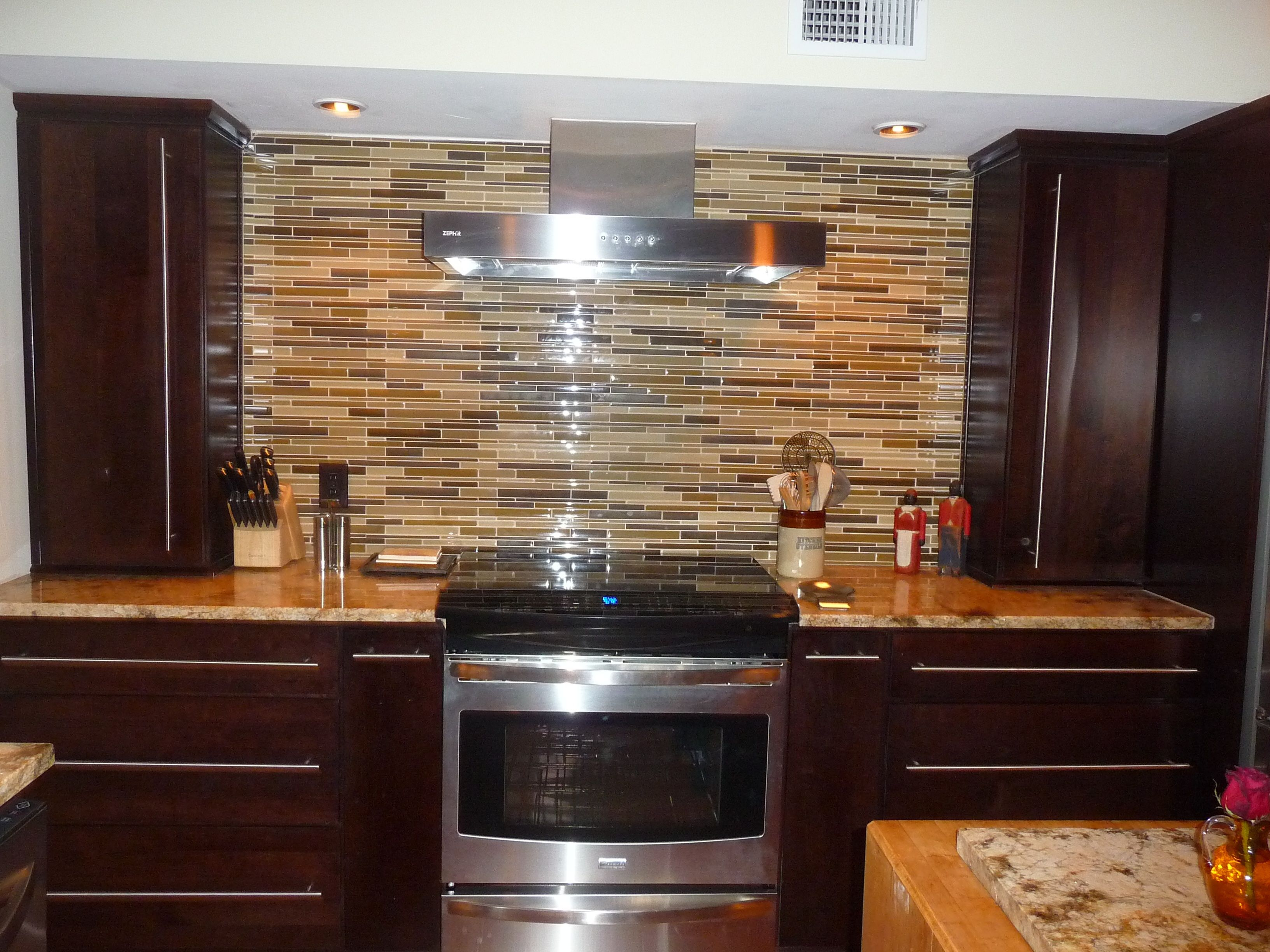 Tile, Backslash, Cabinet Arrangement Around The Stove...functional And  Beautiful And