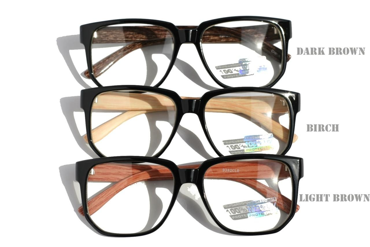 large round brown wood frame clear lens sun glasses optical rx - Wood Frame Glasses