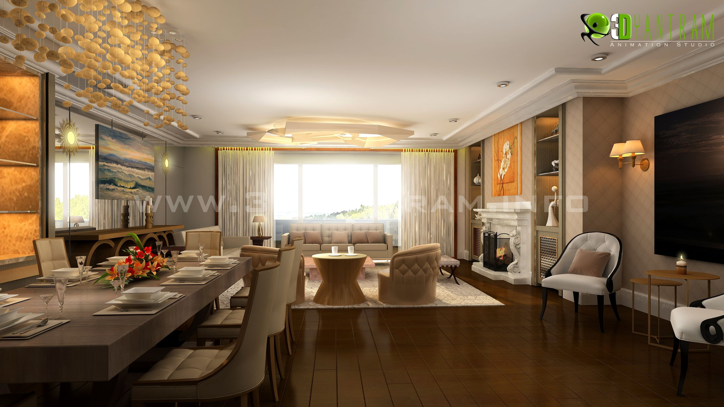 residential 3d interior design living room moscow