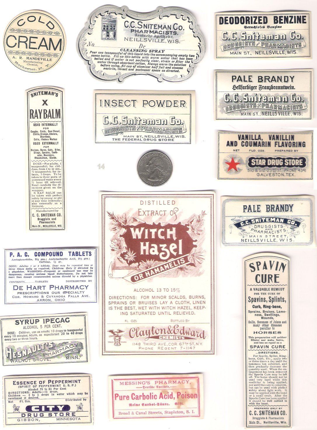 14 paper medicine bottle labels from 1800's **must see | vintaged