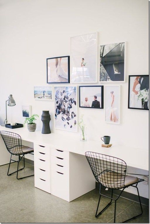 beautiful simple gallery wall and easy double two person desk