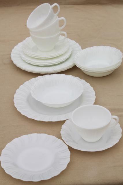 1950s vintage opal milk glass toughened Corning dinnerware set Princess swirl pattern dishes & 1950s vintage opal milk glass toughened Corning dinnerware set ...