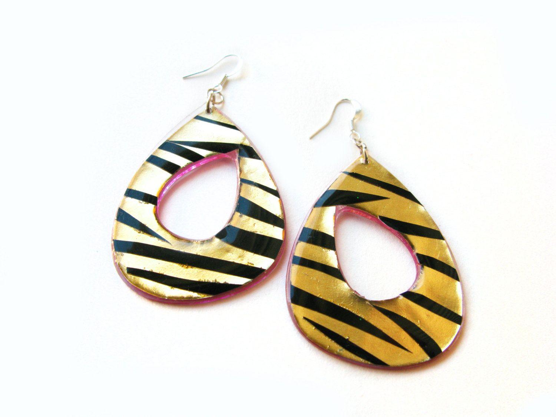 Nautical earrings green and yellow earrings Blue Summer jewellery Striped earrings Turquoise teardrop earrings