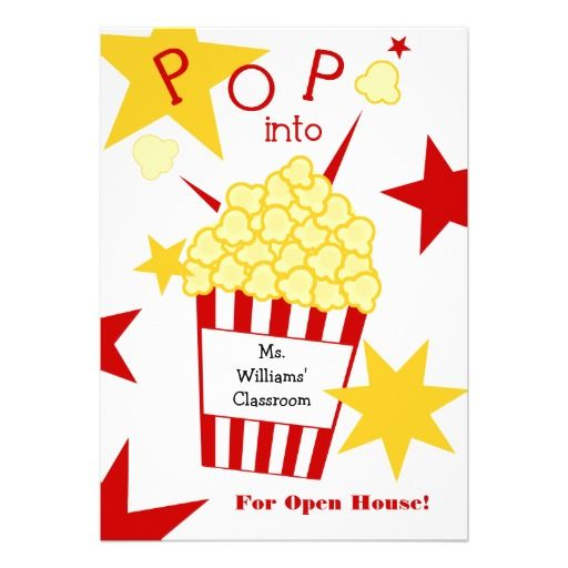 School Open House Invitation Popcorn Open house invitation