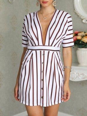 Button Design Tied Waist Denim Shirt Dress   Casual dress