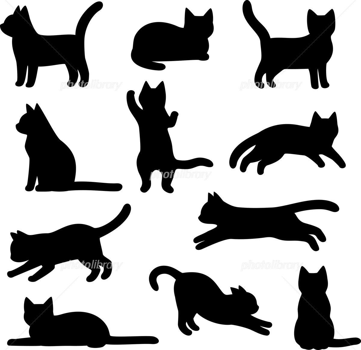 猫のシルエットのイラストセット イラスト素材 フォトライブラリーは