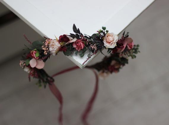 Flower girl crown Burgundy pink beige floral crown Burgundy wedding Bridal hairpiece Deep red headband Bridesmaid crown Maternity - MARIA