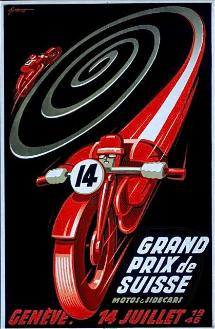Art Ad Grand Prix Suisse Motorbikes and sidecars 1946  Deco  Poster Print