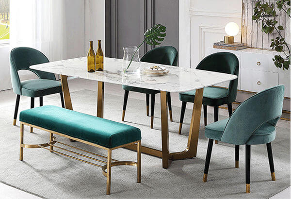 Green Velvet Dining Chairs And Bench Set Dining Table Marble Velvet Dining Chairs Green Dining Room