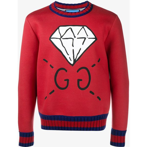 a0c7c044 Gucci Ghost Diamond Print Sweatshirt ($665) ❤ liked on Polyvore featuring  men's fashion, men's clothing, men's hoodies, men's sweatshirts, mens  crewneck ...