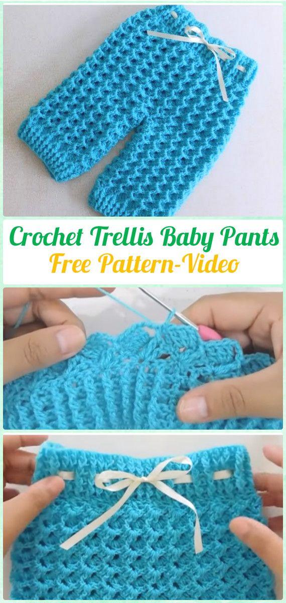 Crochet Trellis Baby Pants Free Pattern Video - Crochet Baby Pants ...