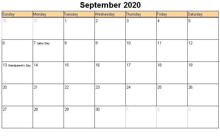 September 2020 Calendar Template Word Pdf Excel Format With