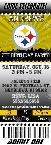 Nfl Pittsburgh Steeler S Birthday Invitation Birthday