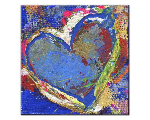 0415. Heart Painting  Original Art  Heart Painting on Canvas