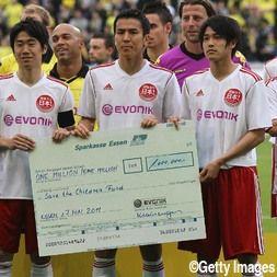 5月10日、東日本大震災の復興支援チャリティーマッチとしてドルトムント対日本人欧州選抜が行われた