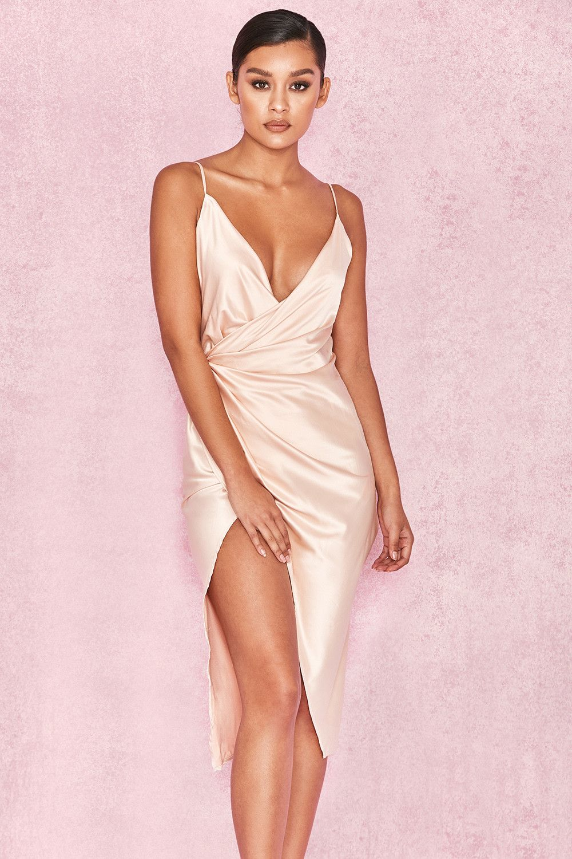 2402954308c Clothing : Bodycon Dresses : 'Coco' Nude Satin Drape Back Dress ...