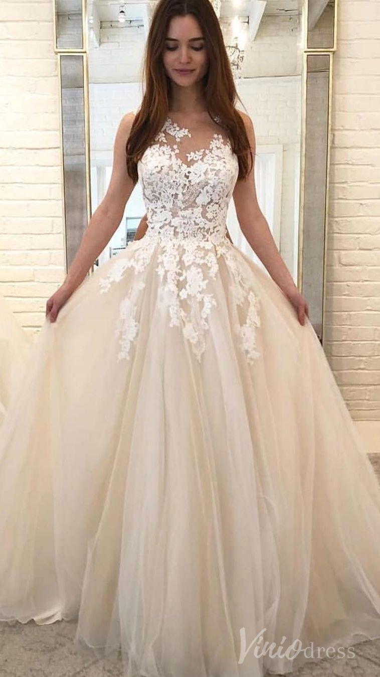 Cheap Simple Champagne Wedding Dresses 2019 Vw1277 Wedding Dress Champagne Wedding Dresses Wedding Dress Types [ 1349 x 758 Pixel ]