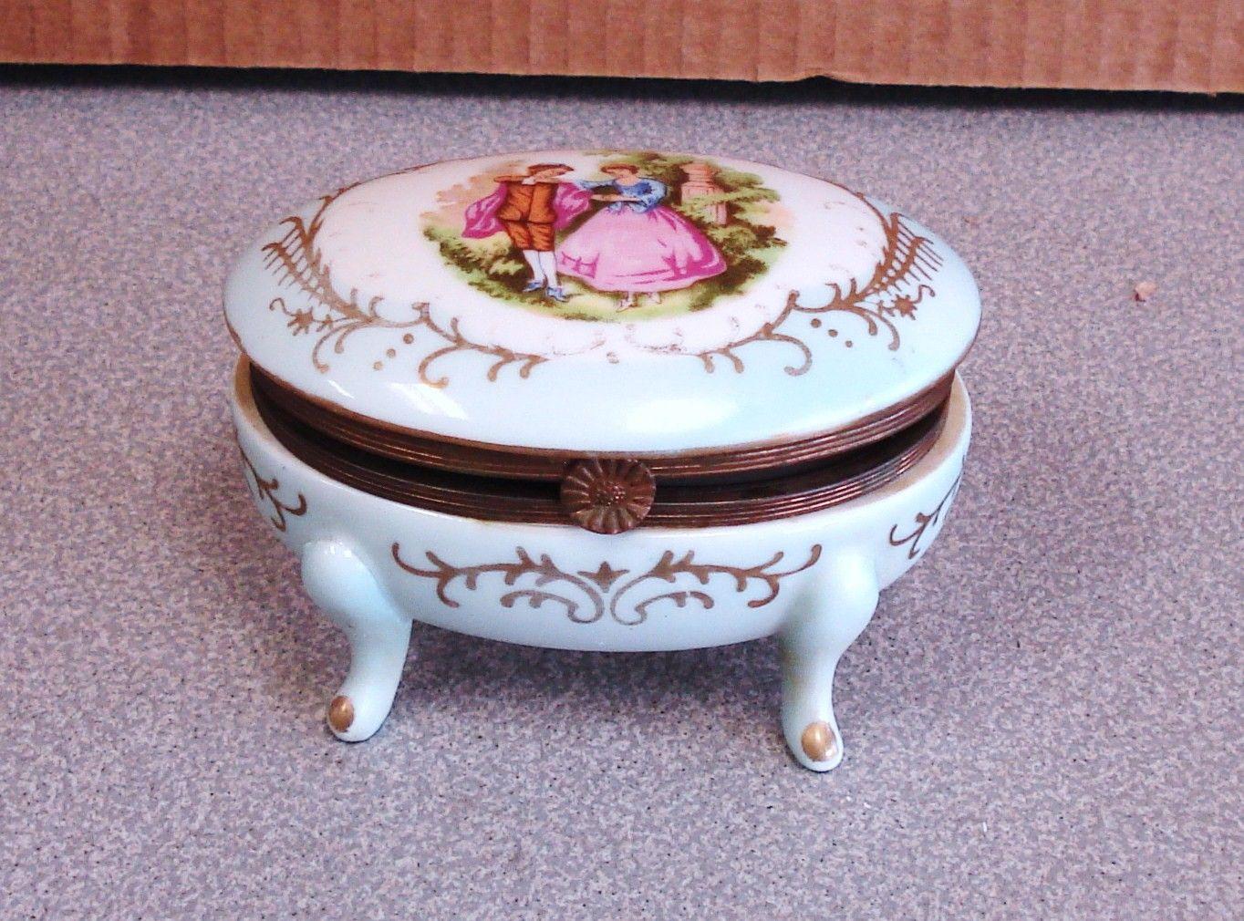 Vintage Porcelain Jewelery Trinket Box. $32.00, via Etsy.
