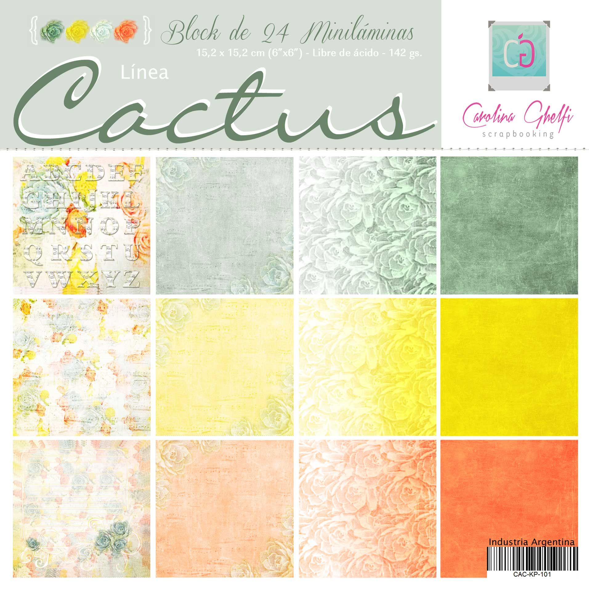 Línea Cactus Carolina Ghelfi Scrapbooking Conseguilo en www.carolinaghelfi.com