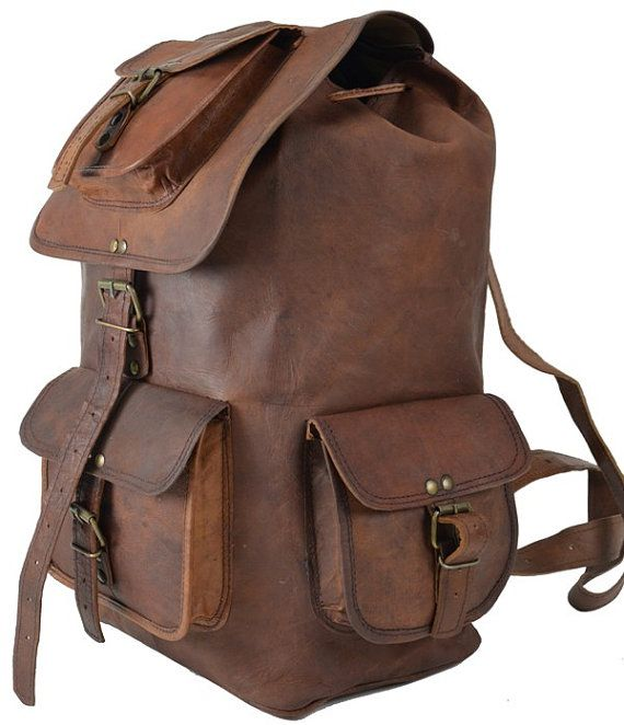 Extra Large 20 inch Leather Backpack Messenger Bag Leather Mens ...