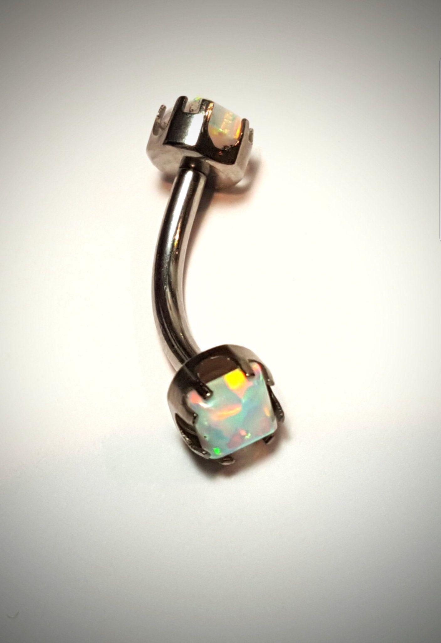 Internal Threading Prong Top Opal Vch Navel Belly Button Christina