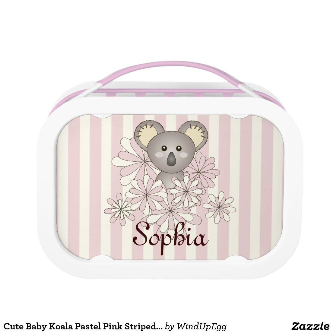 Cute Baby Koala Pastel Pink Striped Kids Name Yubo Lunch Box Lunch Box Cool Lunch Boxes Baby Koala