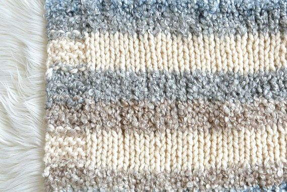 Quick Knit Throw Blanket Pattern, Easy Knit Throw Blanket, Small Knit Blanket, Knit Afghan Pattern, Striped Knit Blanket, Beginner Knitting