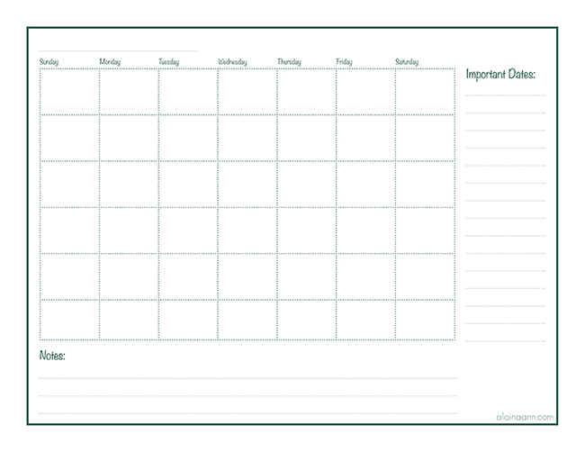 image about Monthly Organizer named Regular Organizer :: Absolutely free Printable :: Alaina Ann