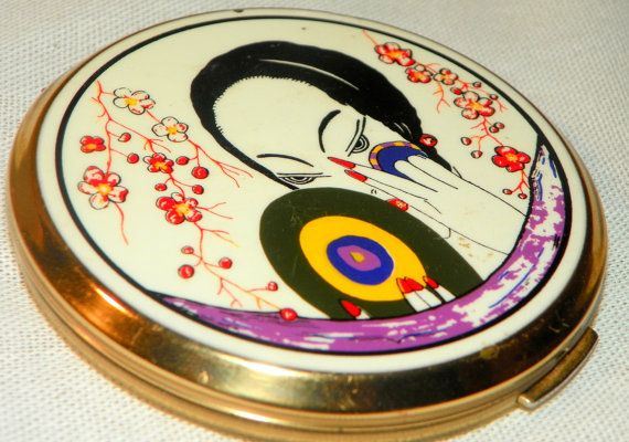 1940's Stratton GEORGES LEPAPE DECO Vanity Powder Compact Vintage 20's Geisha Girl