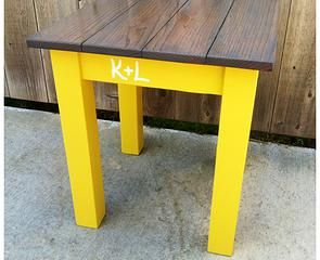 Personalized End Table in Classic Grey/Mustard Yellow