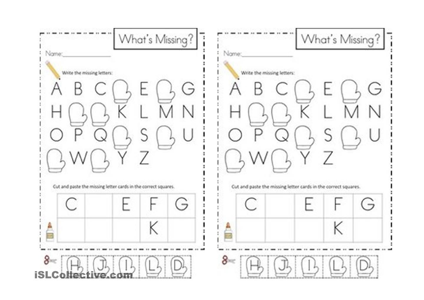 4 Missing Alphabet Worksheets For Kindergarten In