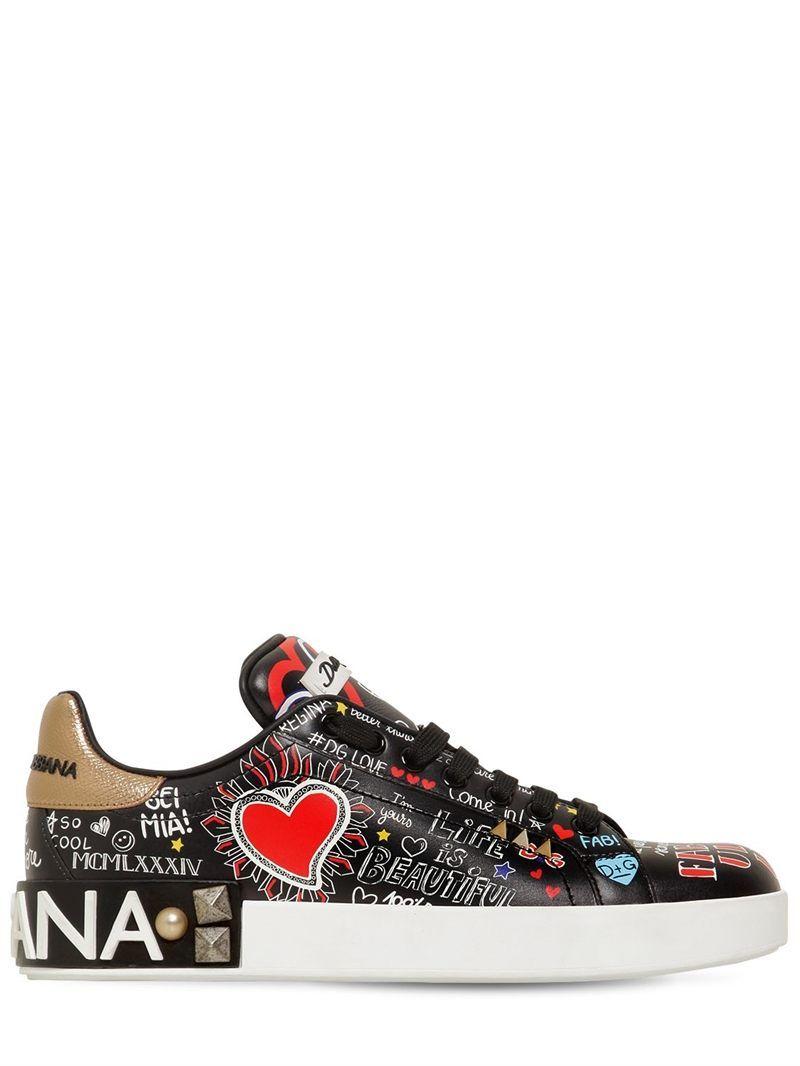 Dolce gabbana 20mm portofino graffiti leather sneakers black