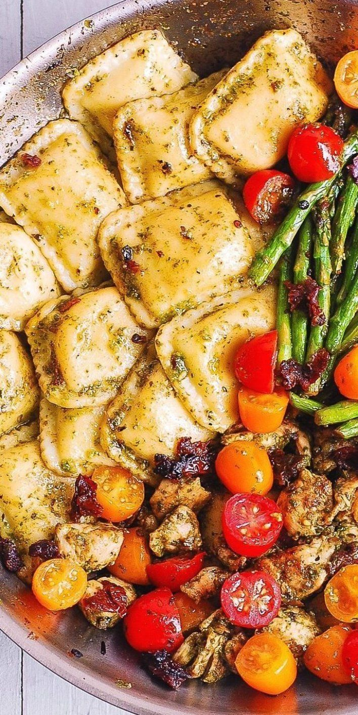 Pesto Chicken Ravioli and Vegetables kitchendecor