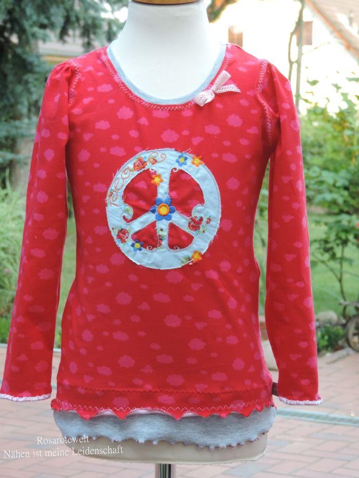 Kibadoo Lina Shirt, ohne Latz, bestickt mit Love and Peace von Huups RosaroteWelt