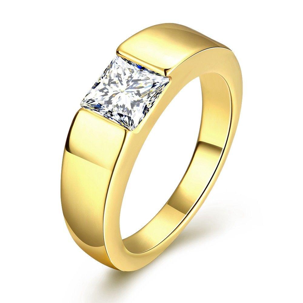 MEGREZEN Engagement Ring Stone Men Cubic Zirconia Wedding Ring ...