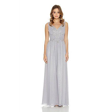 Quiz Grey Chiffon Embroidered Maxi Dress- | Debenhams | Kleider ...