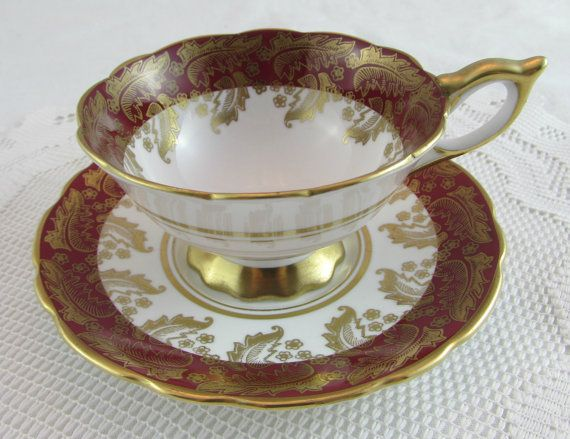 Royal Stafford Tea Cup and Saucer Dark Red with Gold by TheAcreage