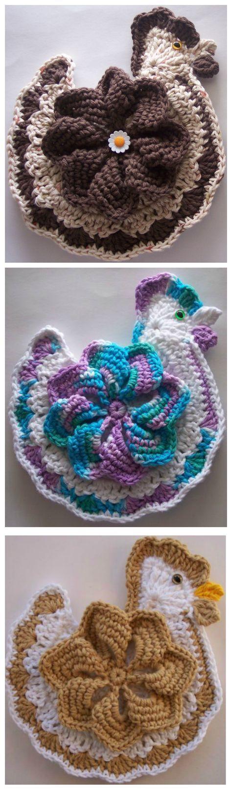 Crochet Chicken Potholder | Pinterest | Topflappen, Häkeln ideen und ...