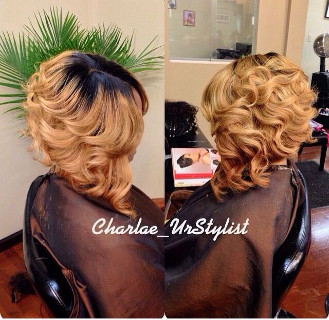 Ombre Curls Bob Invisiblepart Short Hair Styles