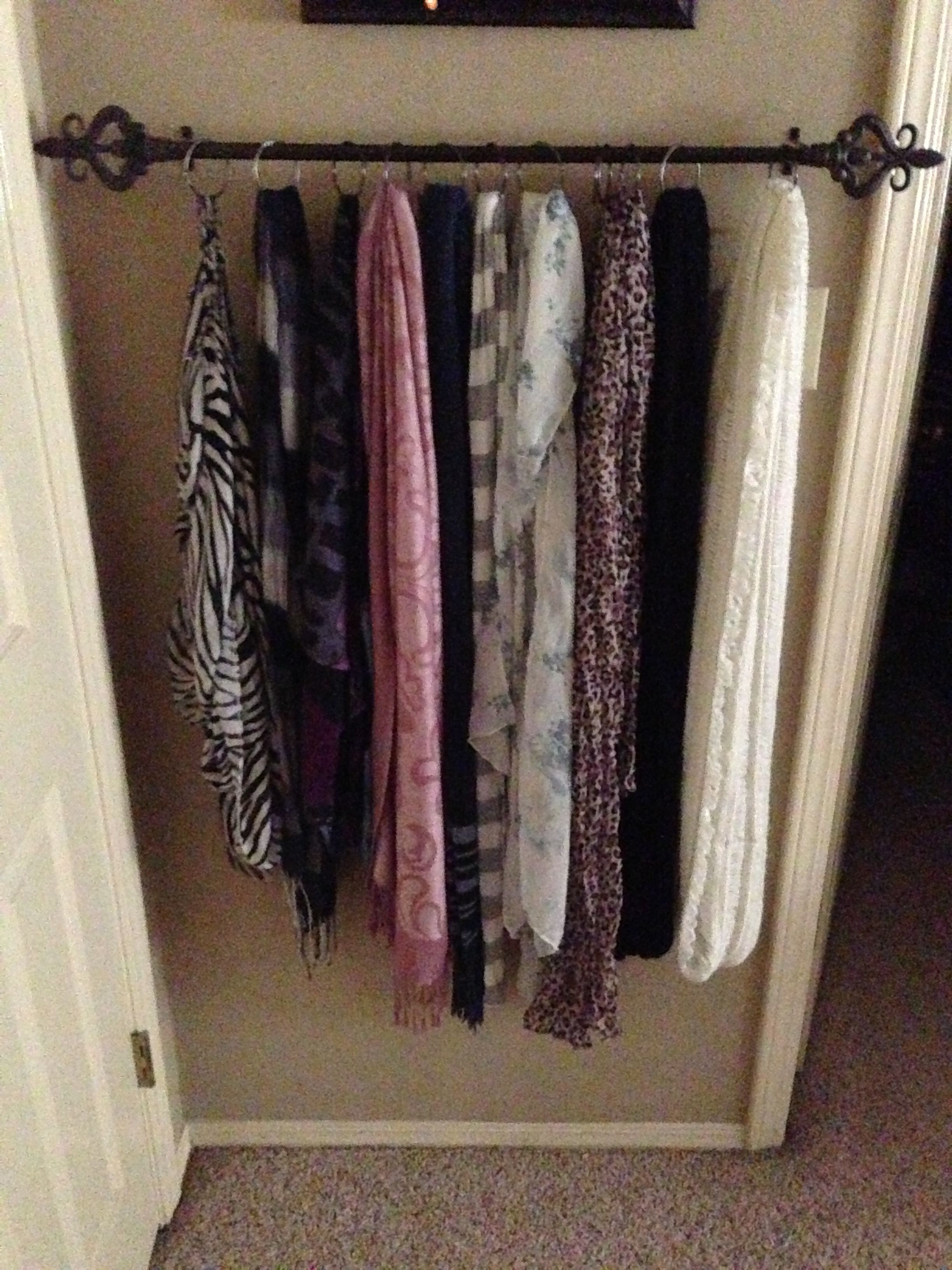 Scarf Holder Curtain Rod And Shower Curtain Rings Behind Door
