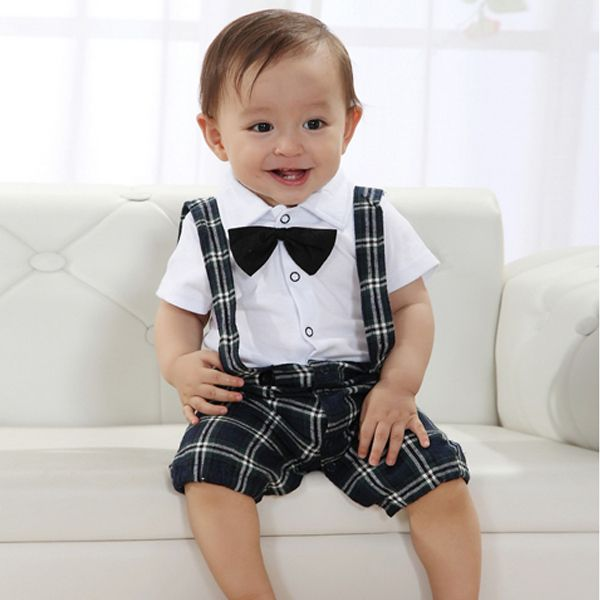 2016 Fashion Cute Baby Boy Casual Wedding Suit 0 3Y Clothes Set Vest Kawaii Plaid