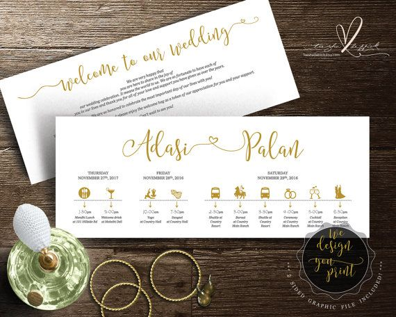 Printable Wedding Timeline card design (Indian wedding), Wedding