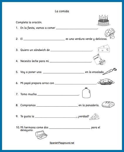 Spanish Food Vocabulary Printable Activities Spanish Playground Spanish Worksheets Spanish Food Vocabulary Learning Spanish 4th grade spanish worksheets
