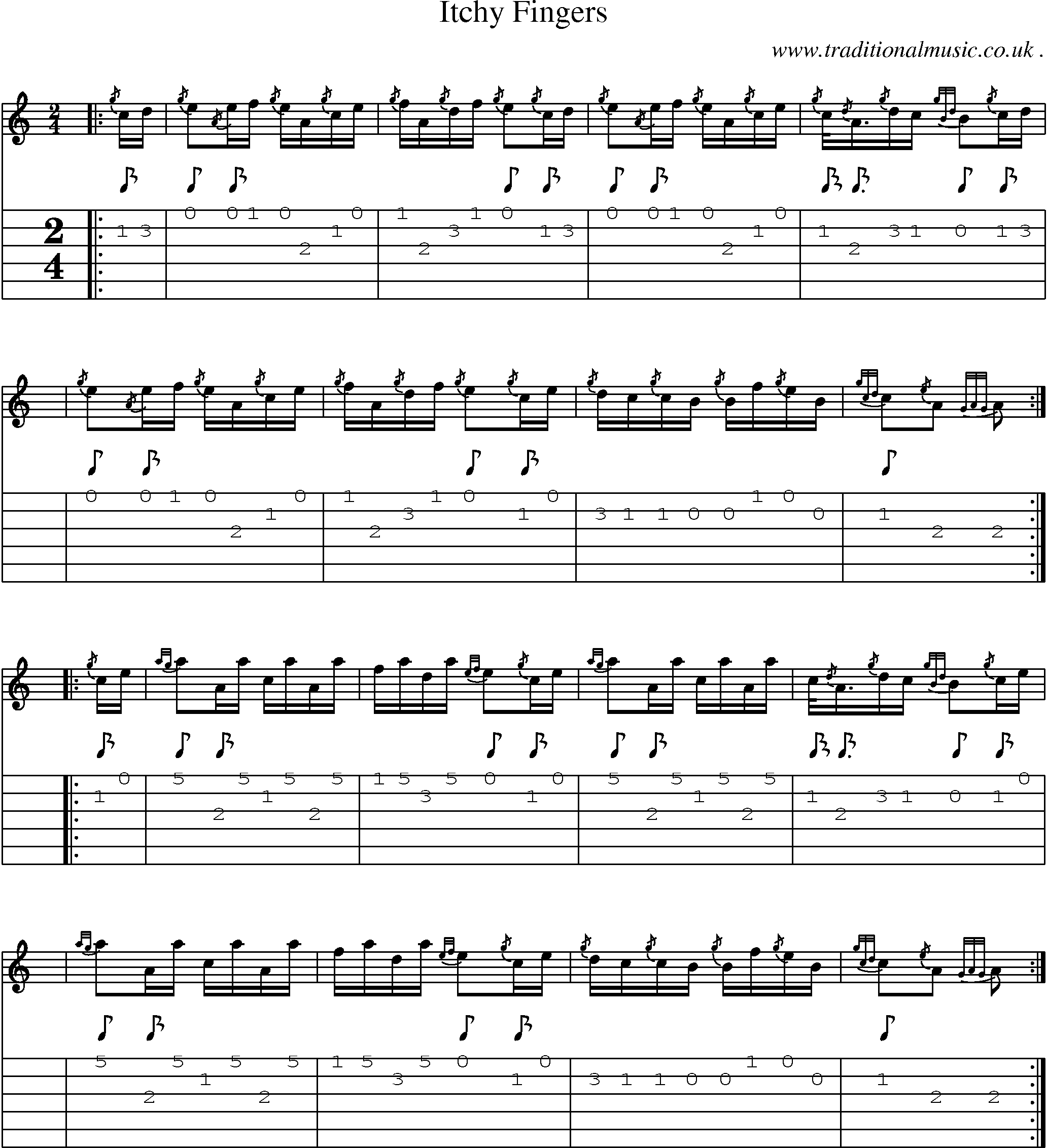 Scottish Tune, Score, Guitar Chords & Tabs: Itchy Fingers