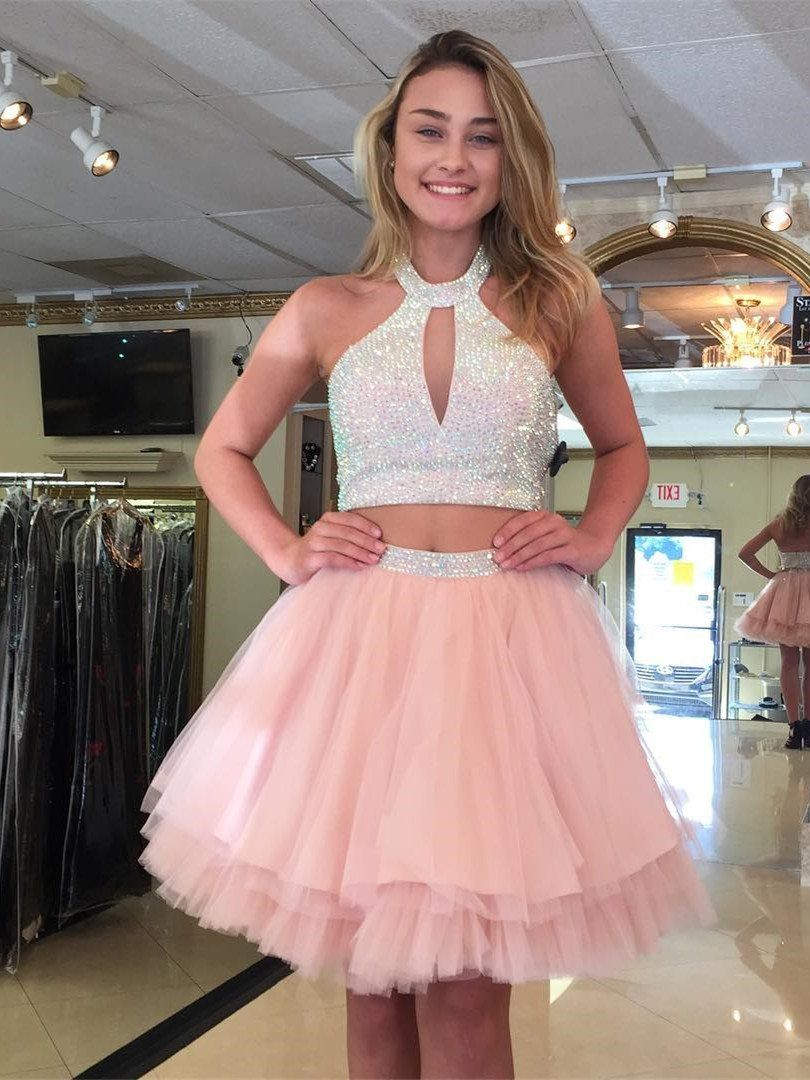A-line Halter Mini Tulle Short Pink Homecoming Dresses With Sequins ...