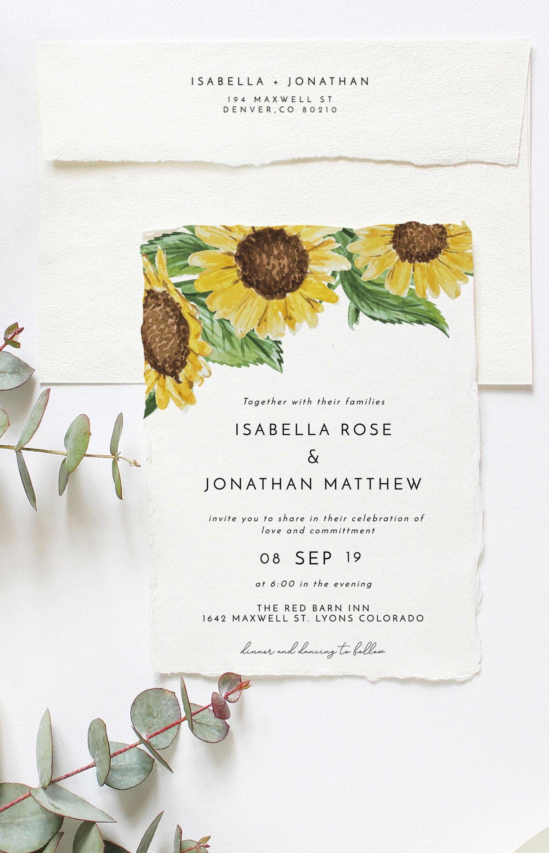 Emma Rustic Sunflower Wedding Invitation Template Suite